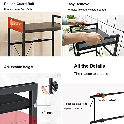 WHIFEA 2-Tier Microwave Oven Rack Expandable and Height Adjustable Microwave Shelf Kitchen Counter Shelf and Organizer with 3 Hooks Carbon Steel 55lbs Weight Capacity Matte Black