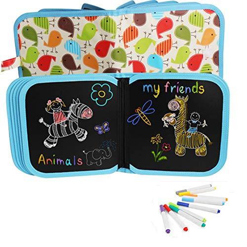 Bostar Tablero Escritura de Dibujo Portátil para Niños Libros Blandos de Pizarra Juguetes para Educación Preescolar para Bebés con Plumas de Colores (A, 14 páginas+12plumas)