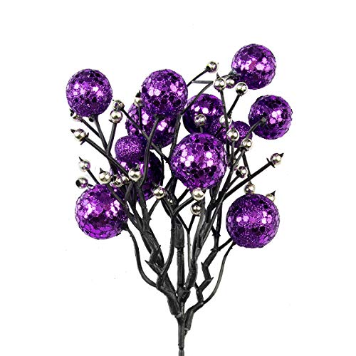 KI Store Purple Berry Picks Stem Pack of 9 for Mardi Gras Christmas Artificial Glittered Berries Stems Crafts Tree Decoration Ornaments