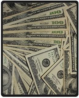 US Dollar Currency Money Blanket, Hundreds of 100 Dollar Bills Soft Fleece Travel Blankets Throws - 40 by 50 Inch