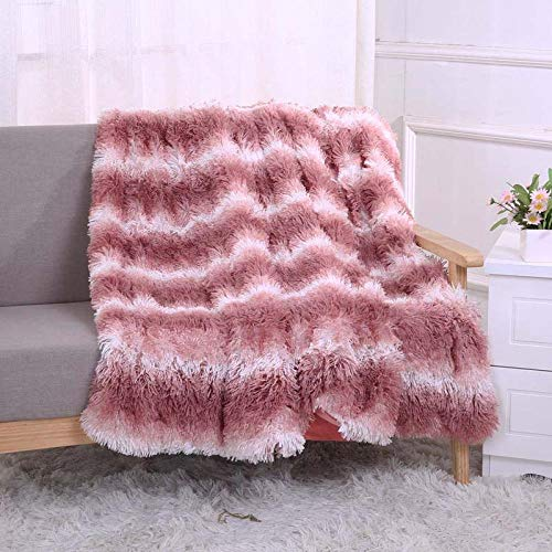 Ropa de Cama cálida para el hogar Manta Gruesa sofá Colcha de Oficina Colcha de sofá de Lana de Coral Colcha de Colcha-Tira de Rosa_El 130x160cm