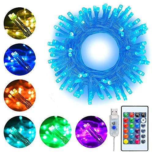 RGB LED Lichterkette 10M 100 LEDs mit USB Ollny Bunte Lichterkette 16 Farben und Mehrfarbig 4 Modi mit Fernbedienung & Timer für Weihnachten Party Geburstag Hochzeit Dekoration