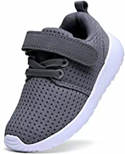DADAWEN Toddler/Little Kid Boys Girls Lightweight Breathable Sneakers Strap Athletic Tennis Shoes for Running Walking Gray US Size 8 M Toddler