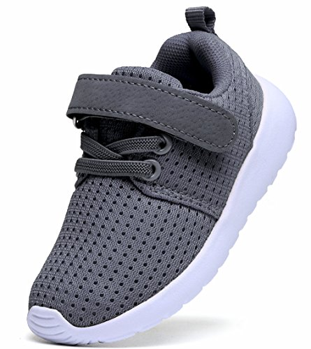 DADAWEN Toddler/Little Kid Boys Girls Sneakers Lightweight Breathable Strap Athletic Running Shoes Gray US Size 7 M Toddler