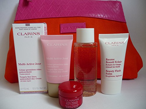 Clarins Skincare Geschenk Set mit Multi-Active Tagescreme, Beauty Flash Balsam, Wasser Komfort von...
