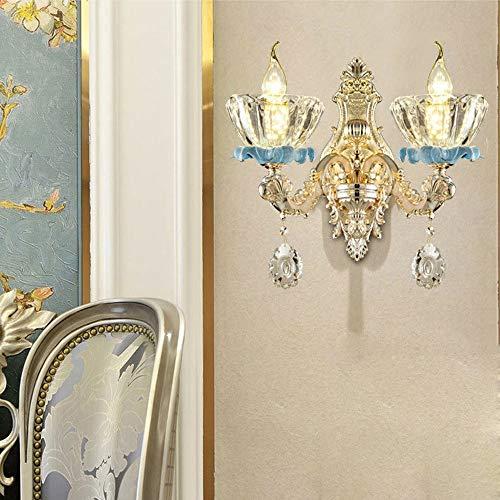 The only goede kwaliteit decoratie Europese kaars kristallen lamp 35 * 35cm woonkamer eetkamer gang slaapkamer hotel nacht warm licht LED E14 * 2 Art