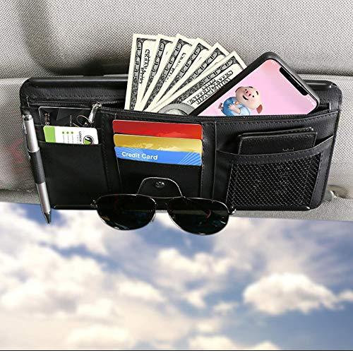 Visor Organizer for Car, Auto Interior Accessories Pocket Organizer, Registration and Document Holder, Personal Belonging Storage Pouch Organizer, Interior Accessories Pocket Organizer (Black)