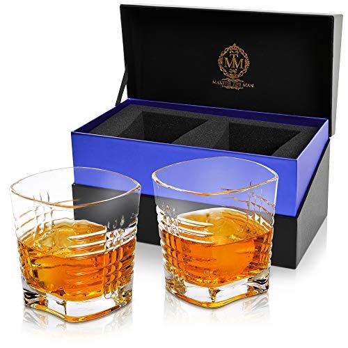 Juego de 2 vasos de whisky premium Heritage Bourbon de 10 onzas en una impresionante caja de regalo, cristal auténtico sin plomo, diseño europeo, doble estilo antiguo, para hielo de 5 cm.