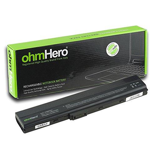 Batterie ohmHero 5200mAh RÉELS 11,1V pour Ordinateur Portable Asus A32-K52, A40J, A42, A42D, A42E, A42F, A42J, A52, A52F, A52J, A62, B53, F85, F86, K42, K52, K62, N82, P42, P52, P62, P82, PR067, PR08C, X42, X52, X5I, X67, X8C, X42D, X42DE, X42E, X42F, X42J, X42JB, X42JE, X42JK, X42JR, X42JV, X52D, X52DE, X52DR, X52F, X52J, X52JB, X52JC, X52JE, X52JG, X52JK, X52JR, X52N