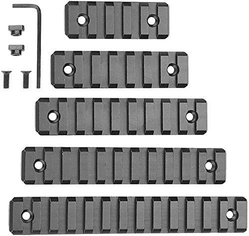Tokenhigh 5pcs Aluminium M-Lok Picatinny Schiene, 5-Slot 7-Slot 9-Slot 11-Slot 13-Slot Leichter Picatinny Schienenteil für M-LOK Kompatibles System mit 10 T-Muttern, 10 Schrauben und 1 Inbusschlüssel