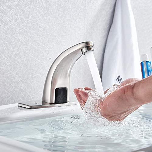 Grifo de baño automático para fregadero manos sin contacto con sensor de ahorro de agua, inductivo eléctrico para lavabo (color : níquel Brushe'd, tamaño: 1 unidad) JoinBuy.R