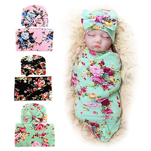3 Pack BQUBO Newborn Floral Receiving Blankets Newborn Baby Swaddling with...