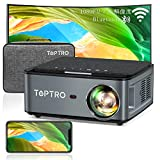 TOPTRO プロジェクター WiFi 1920*1080P 4K対応、7500LM 300インチ大画面 Bluetooth5.0 天井 小型プロジェクター、4Dデータ台形補正 50%ズーム ホーム ビジネス プロジェクター、USB/HDMI/AV/3.5mmオーディオ端子対応 スマホ/パソコン/タブレット/ゲーム機/DVDプレーヤーなど接続可能