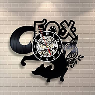 Fox Vinyl Record Designed Wall Clock, Unique Home Room Wall Decor, Best gift for Him or Her, Girlfriend or Boyfriend (Fox)