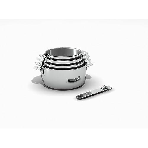 Kitchen Fun by beka 12566964 Move On Série de 4 Casseroles + 1 manche amovible en acier inoxydable 14/20 cm