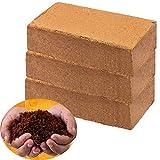 Coco Coir Bricks for Plants - Compressed Coconut Fiber Substrate Garden Coir Plant Soil for Vegetables Flowers Berries Planting, Reptile Bedding(3 Pack)