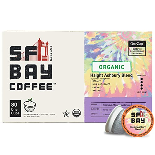 San Francisco Bay Coffee Haight Ashbury Blend, Dark French Roast Compostable Coffee Pods, K Cup Compatible Including Keurig 2.0, 80Count