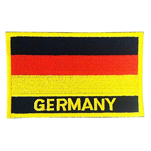 """Germany Morale Flag Patch - Deutscher Flaggenfleck w/ Heat Seal Backing Technology (Germany Iron-On w/ Words, 2"""" x 3"""")"""