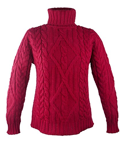 100% Irish Merino Wool Turtle Neck Aran Sweater by West End Knitwear, Garnet, Extra Large