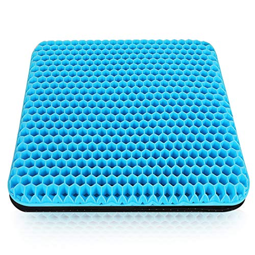 Yewrrite Gel Seat Cushion, Double Thick Breathable Honeycomb Egg Sitter Cushion, Coccyx Cushion with Non-Slip Cover, Relieving Pain Orthopedic Seat Cushion, Gel Seat Cushions for Chairs/Car/Office