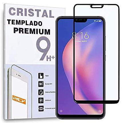 REY - Protector de Pantalla Curvo para XIAOMI MI 8 Lite - MI8 Lite, Negro, Cristal Vidrio Templado Premium, 3D / 4D / 5D