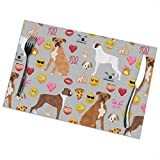 Pillow Bags Boxer Emoji Cute Funny Dog Breed Fabric Grey Insulation Stain Resistant Kitchen Table Mats Placemats for Dining Table Set of 6 3603 Placemats for Dining Table Set of 6