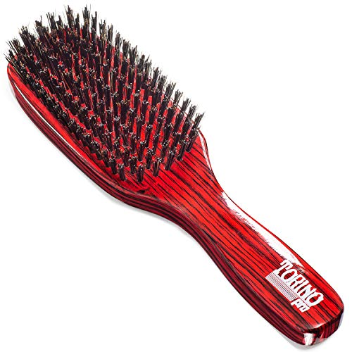 Torino Pro Hard Wave Brush By Brush King - #1840/7 Row hard/Great For wolfing and extra pull - Great for coarse hair wavers - for 360 waves