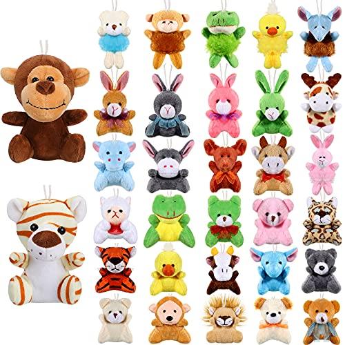 32 Mini Juguetes de Animal de Felpa Juguetes de Peluche de Safari Llavero de Animal Lindo de Peluche Decoración para Cumpleaños Estudiante Premio Fiesta Temática (Mono, Tigre)