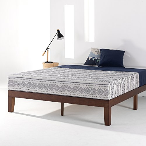 Mellow Naturalista Classic - 12 Inch Solid Wood Platform Bed with Wooden Slats, No Box Spring Needed, Easy Assembly, Queen,Espresso