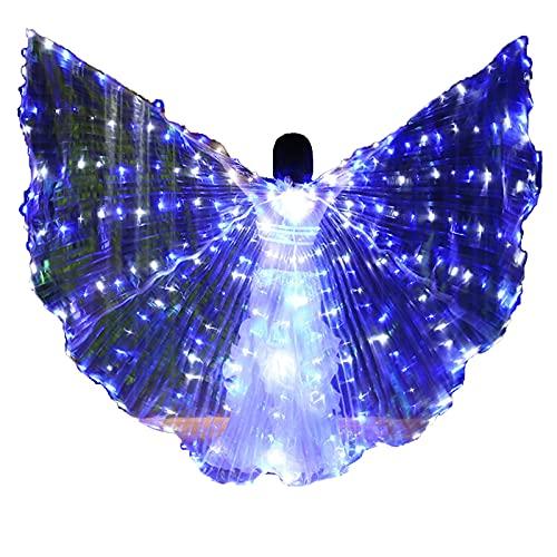 SUKDO Alas De Danza del Vientre LED para Mujer, Alas De ngel ISIS con Palo Telescpico, Disfraz De Baile De Rendimiento para Halloween, Escenario, Carnaval