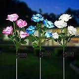 KOOPER Garten Solarlampen für Außen, 3 Stück Garten Solarleuchten mit 12 Größer Rosen Lichter, IP65 Wasserdicht LED Solar Gartenleuchte für Außen Garten Deko Halloween Weihnachten Rasen Terrasse