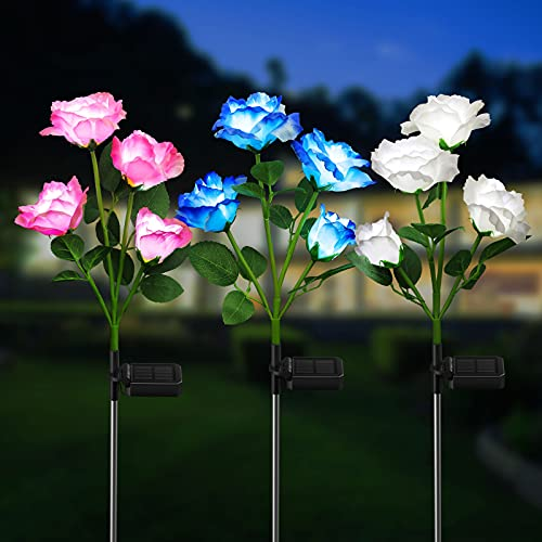KOOPER Garten Solarlampen für Außen, 3 Stück Garten Solarleuchten mit 12 Größer Rosen Lichter, IP65 Wasserdicht LED Solar Gartenleuchte für Außen Garten Rasen Terrasse
