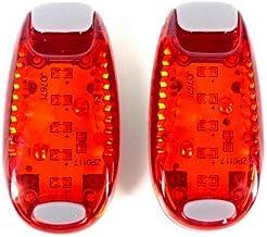 FL-Tronics LED Sicherheitslicht Set Rot Sicherheit Licht Blinklicht Nachtläufer Kinderwagen Bergsteiger Student Hunde mit Batterien Clip Dauerlicht und Blinklicht 2er