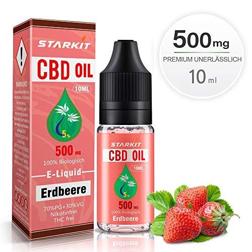 STARKIT® CBD E Liquid 500mg, Vape Öl 10ml mit 5{8b409b3db8e17292e1ae8b13833822aa5280005b0c4b42dbe4add74b34037446} Cannabidiol Hanf Öl für E Zigarette Starter Set SMOK E Shisha, PG70/VG30 Eliquid, ohne Nikotin, ohne THC (Erdbeere Geschmack,500mg)