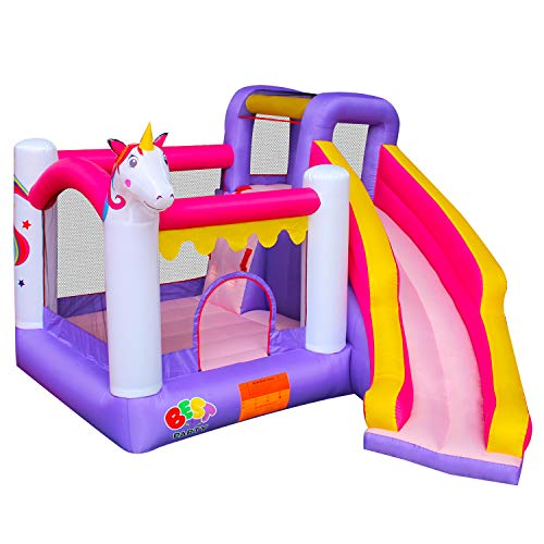 BESTPARTY Inflatable Unicorn Bounce House for Kids Play Jumping Slide with Blower