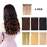 12' Clip in Hair Extensions Remy Human Hair for Women - Silky Straight Human Hair Clip in Extensions 50grams 4pieces Medium Brown #4 Color