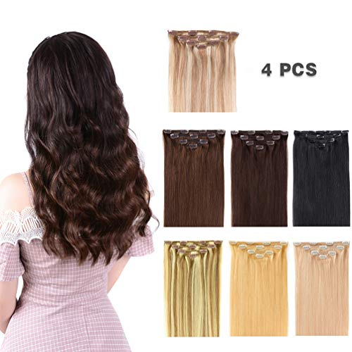 """12"""" Clip in Hair Extensions Remy Human Hair for Women - Silky Straight Human Hair Clip in Extensions 50grams 4pieces Medium Brown #4 Color"""