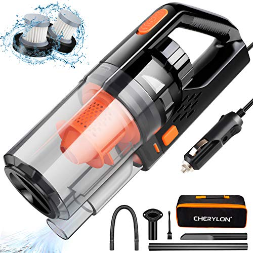 Car Vacuum, CHERYLON Portable Car Vacuum Cleaner High Power 150W/7500Pa for Car Interior Cleaning with Wet or Dry for Men/Women, 16.4 Ft Corded (Black)