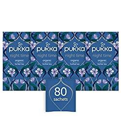 Pukka Night Time Herbal Tea Bags - Organic and Fair Valerian, Lavender & Chamomile - Naturally Caffeine Free (Pack of 4)