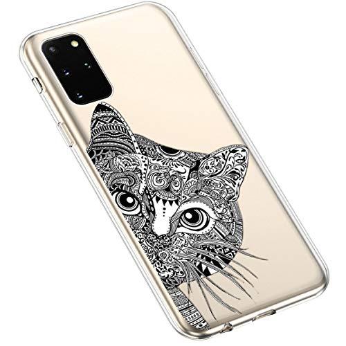 Uposao Kompatibel mit Samsung Galaxy S20 Plus Hülle Crystal Case Schutzhülle Hülle mit Muster Motiv Transparent TPU Silikon Durchsichtig Stoßfest Handyhülle Backcover Tasche,Schwarz Katze