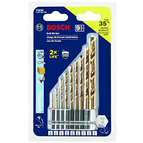 Bosch 9-Piece Impact Tough Titanium Drill Bit Set,...