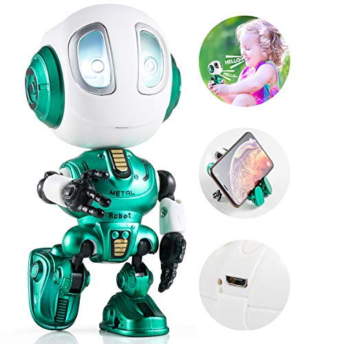 Aubllo Robots Toys for Kids Christmas Stocking Stuffers 2020 New Mini Talking Robots Gifts for Boys Girls Adults with 10 Hours Working Time USB Charging LED Eye Interactive Electronic Toy(Green)