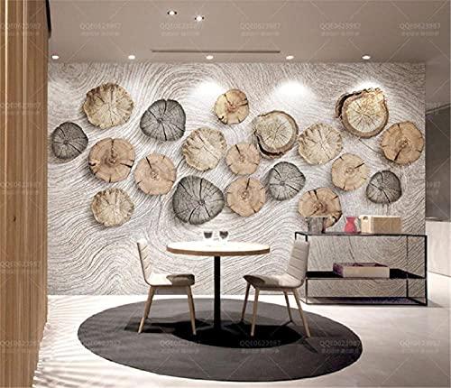BLZQA 3D Papel tapiz Fotográfico Anillos de crecimiento de madera Mural Salón Dormitorio Despacho Pasillo Decoración murales decoración de paredes moderna 350x250 cm-7 panelen