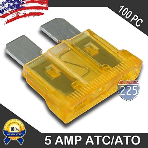100 Pack 5 AMP ATC/ATO Standard Regular Fuse Blade 5A Car Truck Boat Marine RV