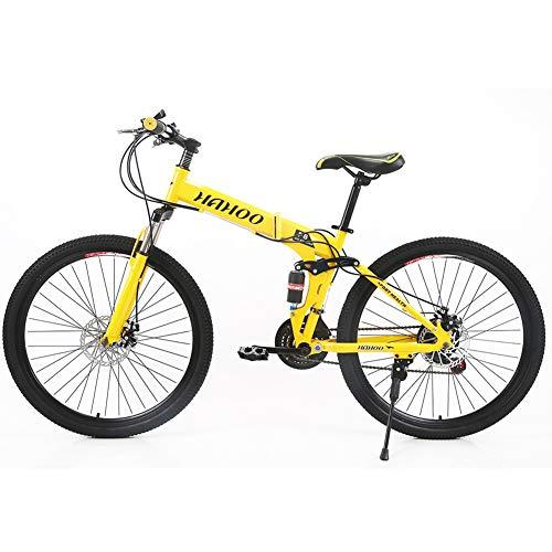 JACK'S CAT Adult Mountainbikes, 26 Zoll Mountain Trail Bike, Faltfahrräder mit Vollfederung aus Kohlenstoffstahl 21-Gang-Doppelscheibenbremsen Mountainbike