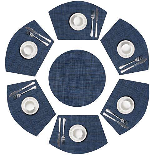 SHACOS Set de 7 Manteles Individuales de Cocina Azul Vintage Salvamantele Individuales Lavables PVC Resistentes, para la Mesa de Comedor de Cocina,Azul Oscuro