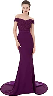 Women's V-Neck Backless Burgundy Long Lace Mermaid Evening Prom Dress W/ Beads
