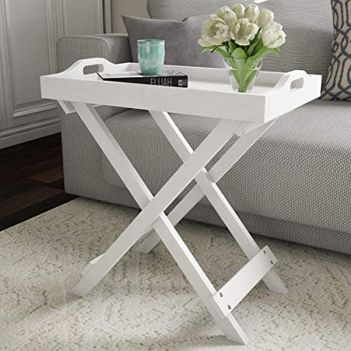 Best Lavish Home Display and Home Accent Table with Removable Tray Top (White)