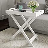 Lavish Home Display and Home Accent Table with Removable Tray Top (White)