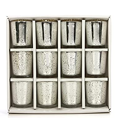 Hosley Set of 12 Metallic Glass, Speckled Silver Finish Votive/Tea Light Holder, 3  High Each. Ideal Gift and Use for Weddings, Spa, Aromatherapy, Tealights, Candle Gardens O4